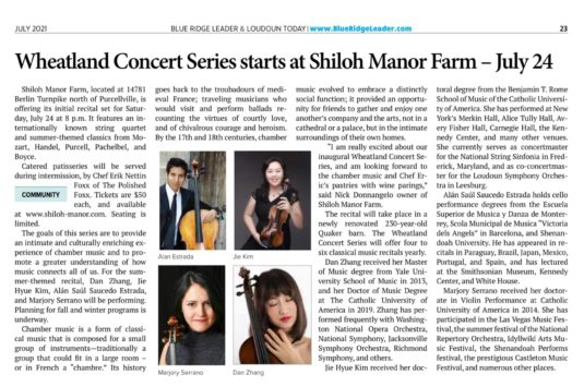 Wheatland Concert Series at Shiloh Manor Program Guide